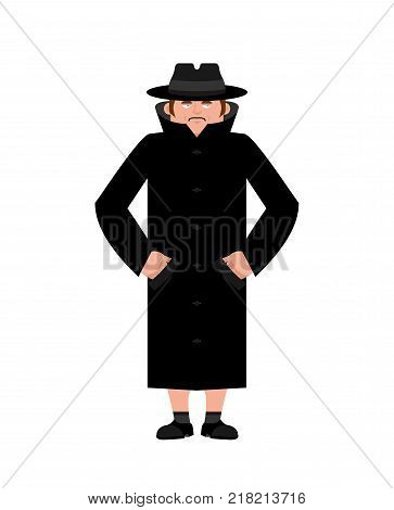 Exhibitionist Closed coat isolated. publicly expose intimate parts of his body. Vector illustration