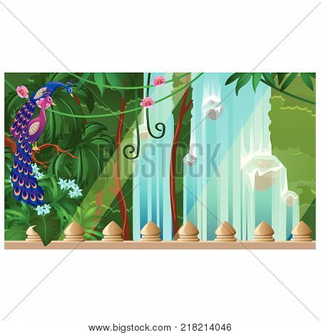 Beautiful natural landscape with views of forest waterfall, flowering vines and Paradise birds peacocks. Poster on the theme of nature and ancient architecture. Vector cartoon close-up illustration.