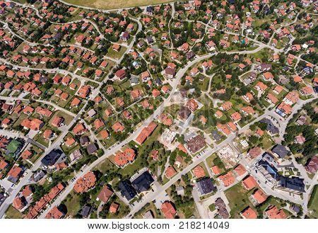 Aerial view of houses in Zlatibor, Serbia, Europe