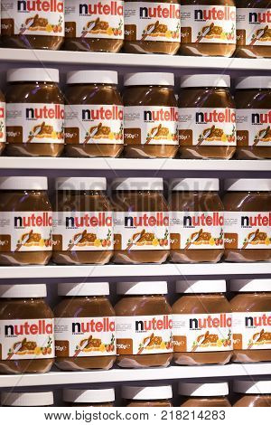 TEL AVIV, ISRAEL - 26 NOVEMBER 2017: Background with cans of chocolate nutty pasta Nutella attractions of the city Market Sarona .