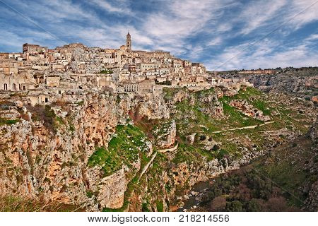 Matera, Basilicata, Italy: landscape of the old town (sassi di Matera) and the creek at the bottom of the deep ravine