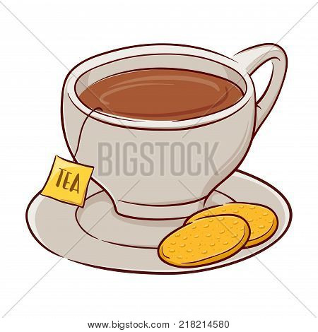 Vector illustration of a cup of tea with two biscuits on a saucer