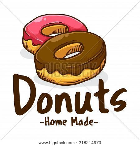 Vector illustration of delicious sweet donuts shop logo icon
