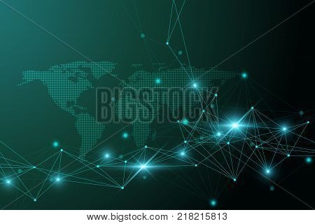 Vector y foto virtual graphic background bigstock virtual graphic background communication with dotted world map perspective backdrop of depth digital data gumiabroncs Choice Image