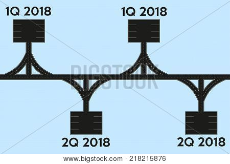 Business concept of timeline roadmap. Task execution plan in road map style. Infographic for investors. Vector Illustration.