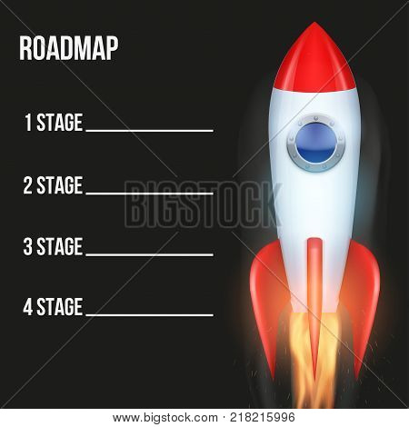 Business concept of timeline roadmap with rocket. Task execution plan in space road map style. Infographic for investors. Vector Illustration.
