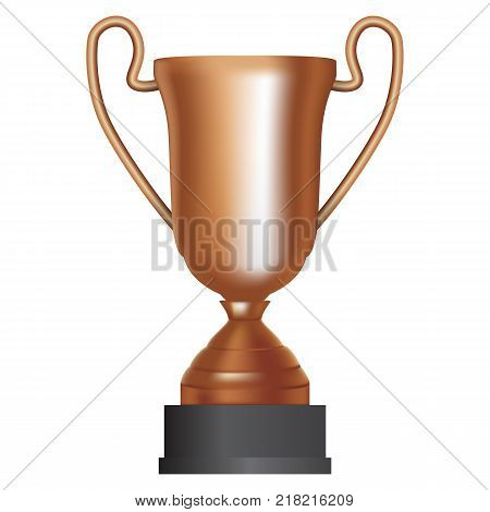Bronze cup winner third place on white background. Vector Illustration. EPS10