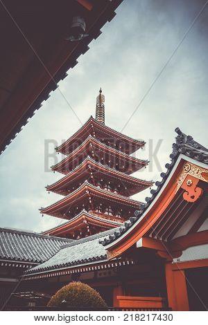 Pagoda in Senso-ji Kannon temple Tokyo Japan
