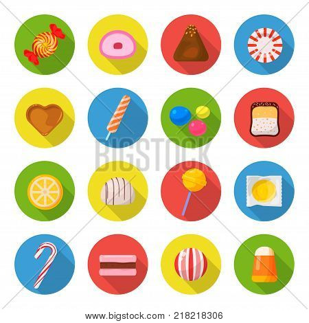 Candy icon set. Sweet food made from sugar or chocolate, hard and soft candies, caramels, marshmallows, taffy joy for kids. Vector flat style cartoon illustration isolated on white background