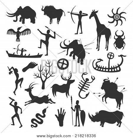 Cave painting set. Simple painting done by prehistoric people in caves, hunting and life painted in black on the wall. Vector flat style cartoon illustration isolated on white background