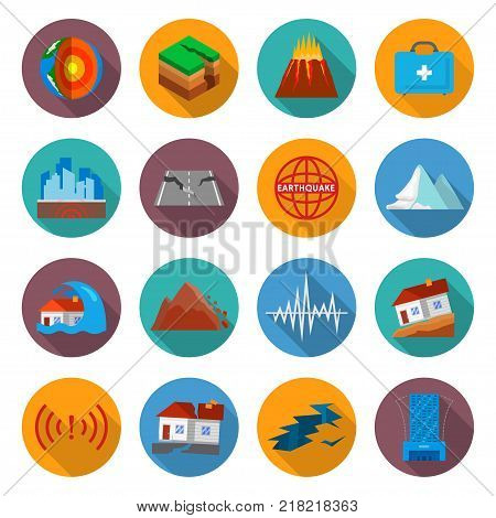 Earthquake damage icon set. Ground movement disaster, after shaking or trembling of the earth dangers, causing great destruction. Vector flat style cartoon illustration isolated on white background