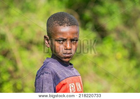 ADDIS ABABA, ETHIOPIA - MAY 4, 2015 : Young Ethiopian boy poses for a portrait