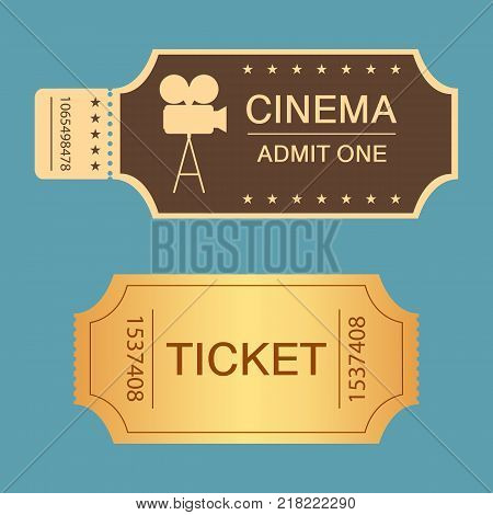 Cinema Symbol Design. Cinematography Concept With Flat Film Camera. Colored Vector Illustration.