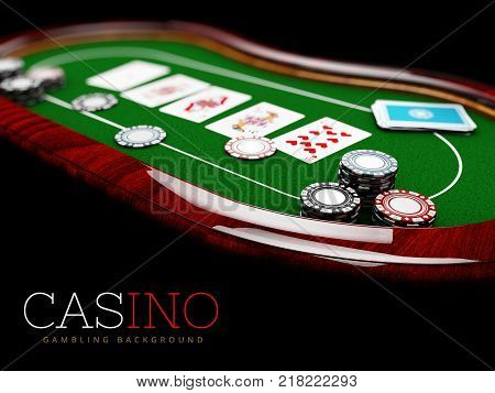 Poker table with a combination of a straight flush and casino chips, 3d Illustration. poster