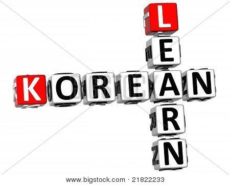3D Learn Korean Crossword on white background poster