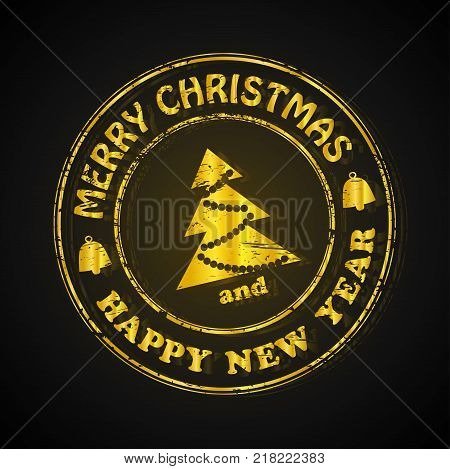 Isolated Stamp Christmas and Happy New Year Greeting Banner, vector