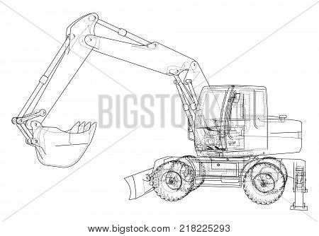 Outline of excavator isolated on white background. Vector EPS10 format, rendering of 3d