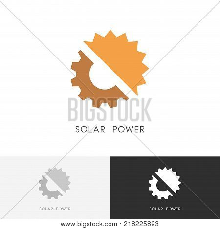 Solar power logo - sun and gear wheel or pinion symbol. Alternative energy source, industry and ecology vector icon.