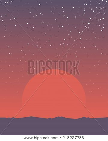 Space retro background. Planet surface like Mars and huge red giant sun rising above the horizon. Gradient planet sky. Mountains and rocks on planet horizon. A lot of bright stars on the sky.