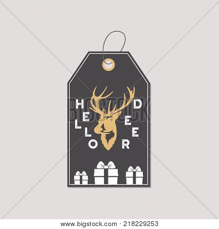 Merry Christmas and New Year gift tag. Holiday card concept with xmas symbols - reindeer. Hello deer sign. Retro colors pallete. Stock Vector illustration isolated on white background.