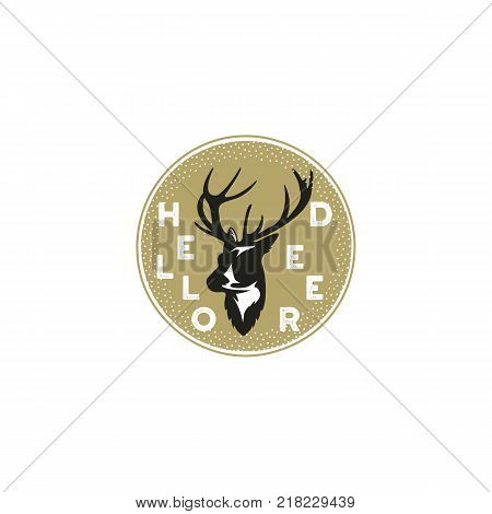 Hand drawn illustration with a deer and typography elements. Hello deer quote. Round patch, stamp, sticker. Stock vector isolated on white.