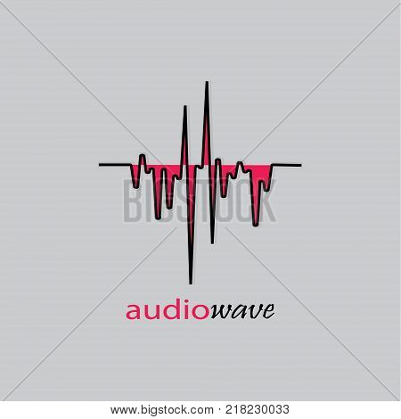Audio wave logo. Music equalizer black-red element on a gray background.