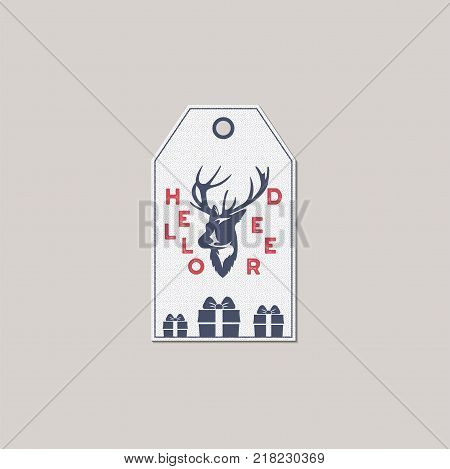 Merry Christmas and New Year gift tag. Holiday card concept with xmas symbols - gift boxes, deer. Stock Vector illustration isolated on white background.