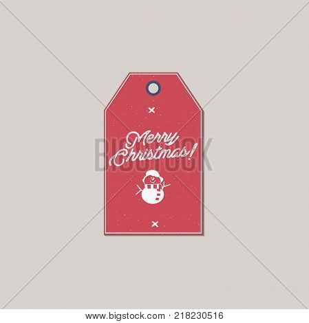 Merry Christmas and New Year gift tag. Holiday card concept with xmas symbols - snowman. Stock Vector illustration isolated on white background.