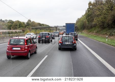 Traffic jam at the german highway (autobahn)