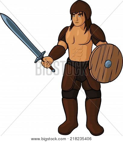 Cartoon gladiator with leather armour on white background