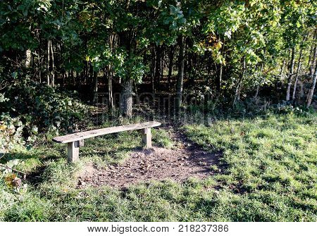 The small wooden bench seat used by walkers and ramblers to take a rest