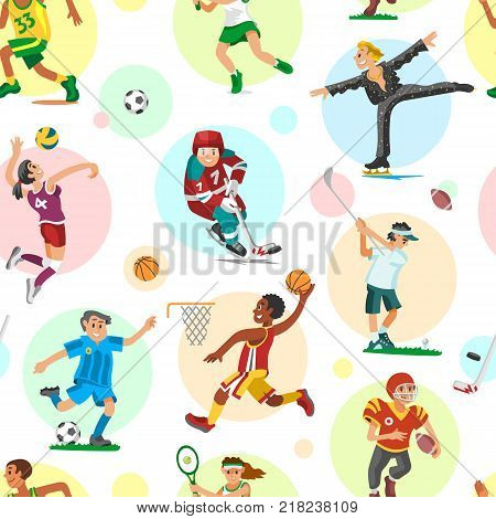Sport people sportsmen woman and man flat fitness activities workout athletic characters vector illustration. Sportswear training activity team seamless pattern background