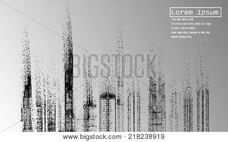 eps10.Building and City Illustration, Wind of particles, City scene on night time