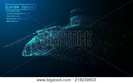 EPS10. The helicopter of the particles. The helicopter breaks down into small molecules. Vector illustration