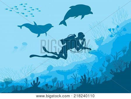 Silhouettes of Underwater wildlife, diver, dolphins on a sea background, vector illustration