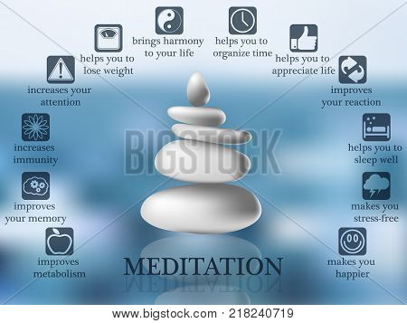 Advantages and benefits of meditation infographic, balancing stones in water