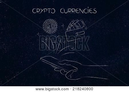 crypto coins conceptual illustration: hand with smartphone and crypto currency next to wallet icon flying out of it