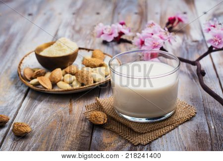 Non dairy vegan almond milk in a tall glass, whole almond nuts and ground almond on wooden table. Copy space