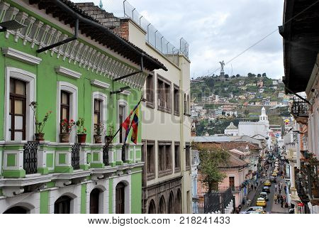 Quito, Ecuadon January 2017 Typical colonial architecture in Quito