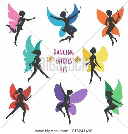Set of dancing Fairy Silhouettes. Nine fairies with colorful wings. Vector illustration.