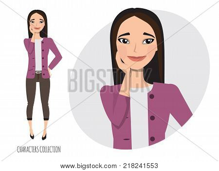 Vector illustration of a cute shy asian girl. Modern trendy woman in casual office style.