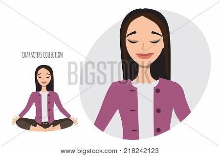 Beautiful young asian woman relax and enjoy. Modern trendy woman in casual office style meditating.