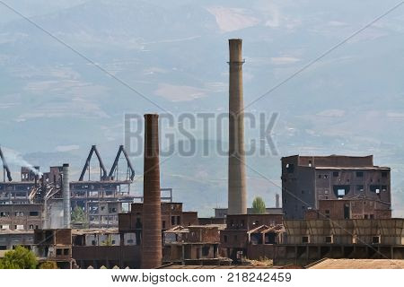 Exterior of a very old abandoned factory in Albania