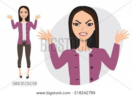 Angry asian Woman. Furious Girl. Negative Emotions. Bad Days. Bad Mood Stressful Woman