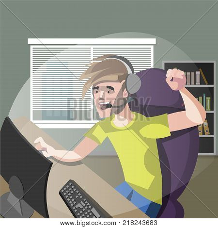 Young Man Gamer Playing Computer Games Vector Illustration
