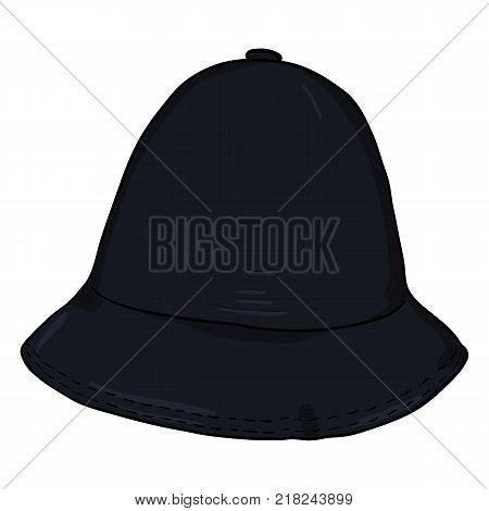 Vector Single Black Cartoon Bucket Hat. Hip-hop Cap.