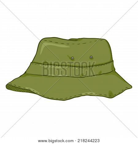 Vector Single Cartoon Khaki Bucket Hat. Military Style Panama Hat