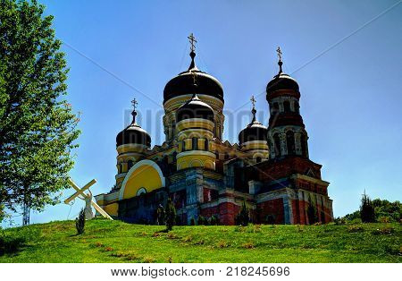 Exterior view to Saint Pantaleon church of Peter and Paul cathedral at orthodox Hancu Saint Paraskeva monastery in Moldova