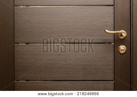 Close-up of metal bronze door handle on wooden door
