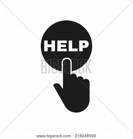 Hand pressing a button with the text HELP icon. Support, assistance, maintenance, faq symbol. Flat design. Stock - Vector illustration